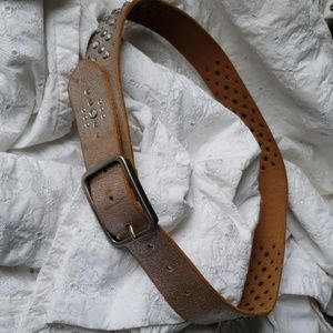 Express brown silver bling studs woman belt M